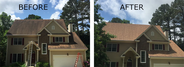 Before and After Raleigh Roof Washing